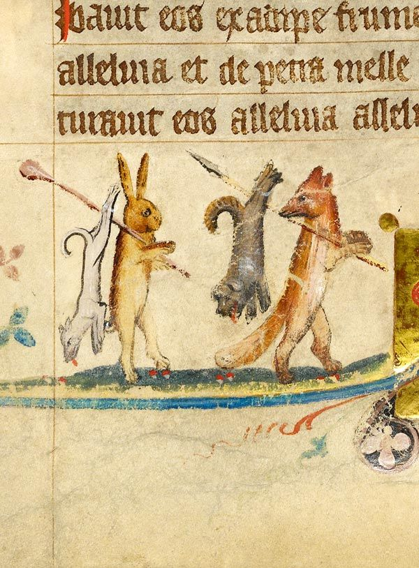 Rabbit and fox, each carrying on right shoulder club (?) or spear with dogs tied to them | Missal | Germany, Hamburg | before 1381 | The Morgan Library & Museum