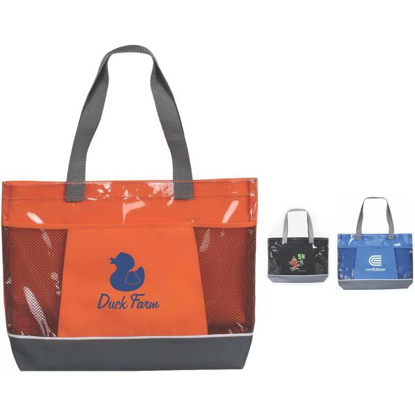 sanibel travel tote this wide tote bag features a velcro close transparent main pocket to - Travel Tote Bags