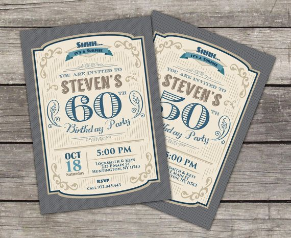 Adult Retro Birthday Invitation // Shhh it's a Surprise Birthday Invitation // 30th 40th 50th 60th 70th Birthday Invitation on Etsy