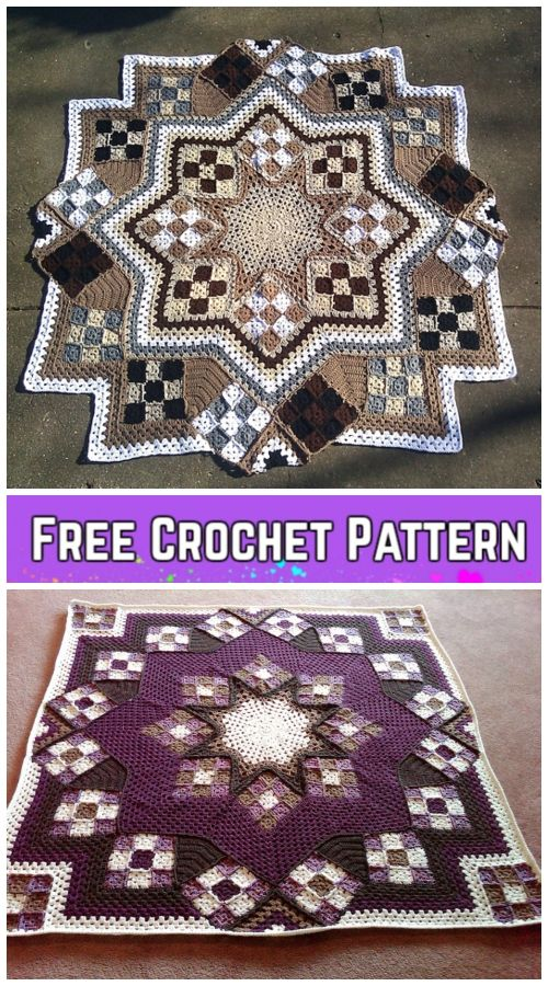 Crochet Blue Star Patchwork Blanket Free Crochet Pattern | Crochet ...