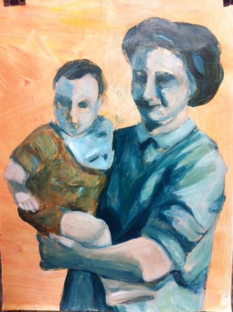 Mother and son by Cecilia Kok (acrylic paint on paper 90x60 cm)