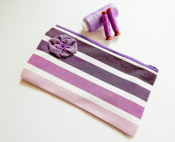 Zipped Lined Pouch Purple Ombre Stripes  - Christmas Present - Lilac Pencil Case - Make up Cosmetics Bag - Bag Organiser - Tobacco Case