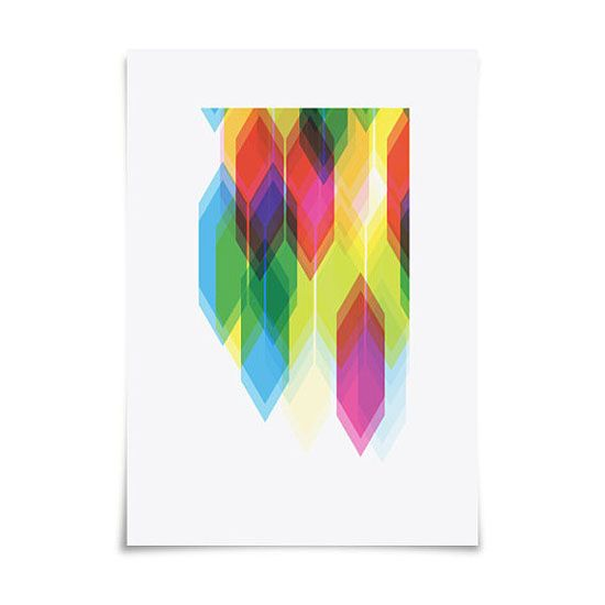 Prism no. 1 Art Print from Dig the Earth on Etsy  Rainbow CMYK Chevron Tesselation