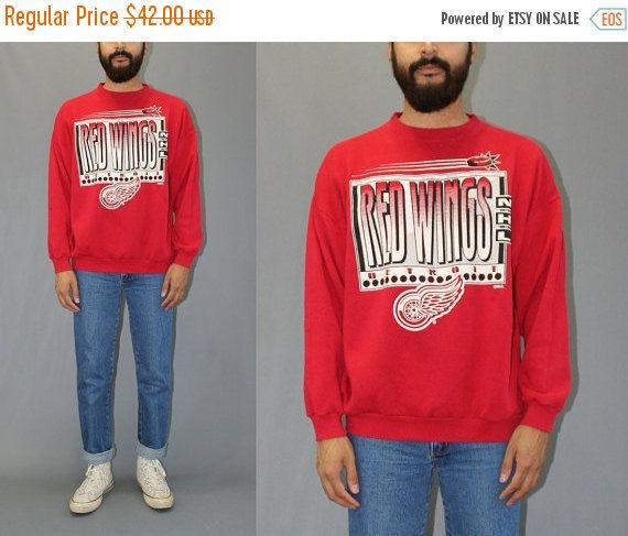 ON SALE Vintage 90s Detroit Red Wings Graphic Pullover Crew Sweatshirt 90s Red Wings Hockey Sweatshirt Stanley Cup Champs - XL by DiveVintage from Passport Vintage. Find it now at http://ift.tt/2juF98T!