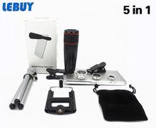 2016 nova 5in1 12X Zoom Camera lente telescópio telefone 3in1 Clip on Kit de lente grande angular olho de peixe Macro para IPhone Samsung(China (Mainland))
