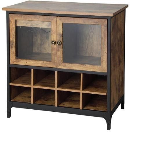 Wine Cabinet Rack Cellar Rustic Antique Country Style Shelf Liquor Glass Storage #WineCabinet