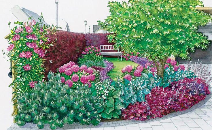 Unsere erste Gestaltungsidee wird dominier von rosanen und purpuren Blumenbeeten