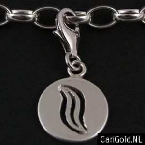 #Marble #Marbles - #Marillion - Jewellery - Handmade Sterling silver charm/bead (14mm)- PENMAR14L- to wear on a #bracelet - Designed by Karin Hengeveld - to order check - www.CariGold.nl