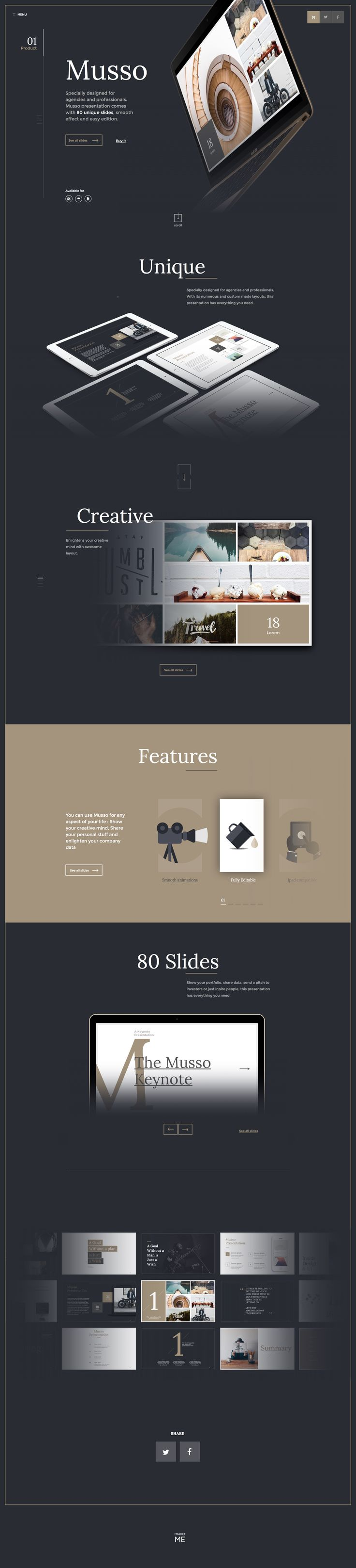 Mussso Presentation Keynote Ui kit, by Barthelmy Chalvet