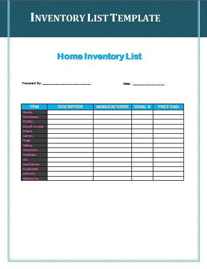 Inventory Check Form