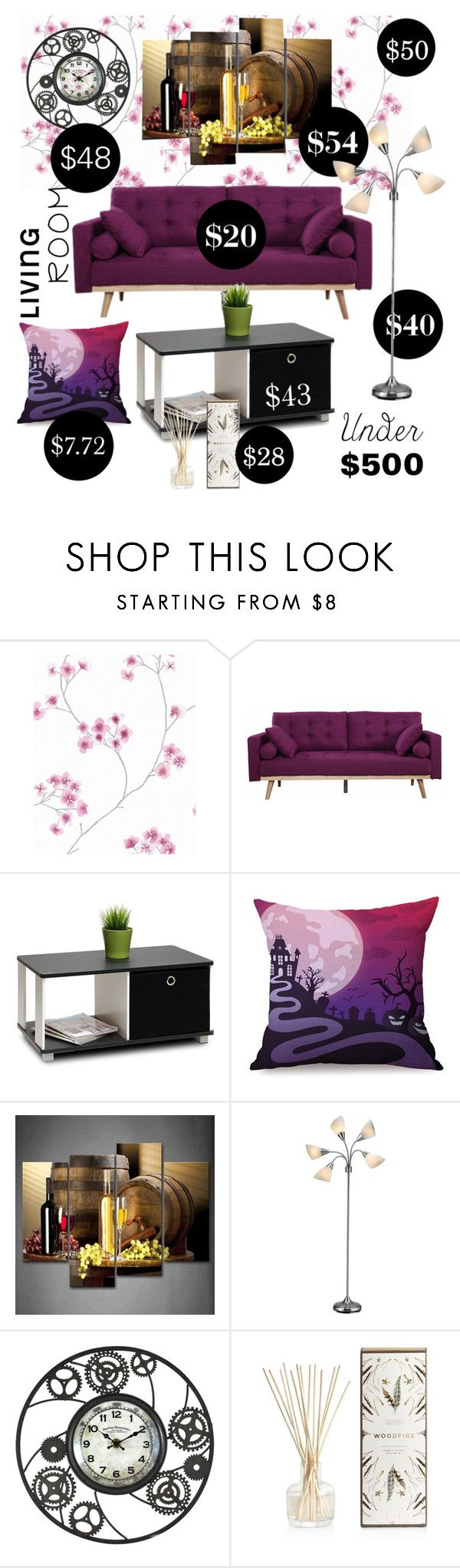 """""""Plum Living Room"""" by val-lav ❤ liked on Polyvore featuring interior, interiors, interior design, home, home decor, interior decorating, Furinno, Adesso, Illume and living room"""