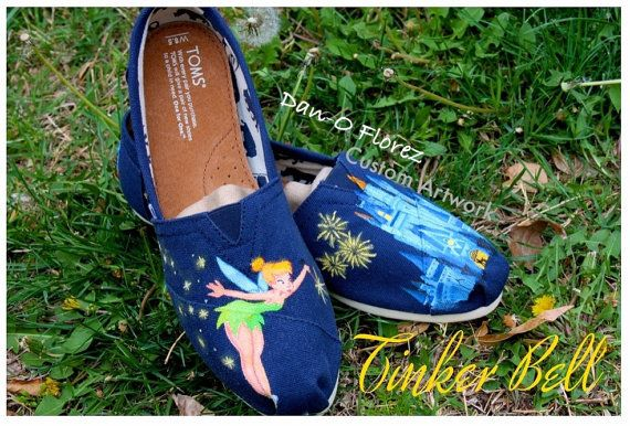 summerr56's save of Tinker Bell from Peter Pan and Disney World Magic Kingdom Cinderella's Castle Painted TOMS on Wanelo