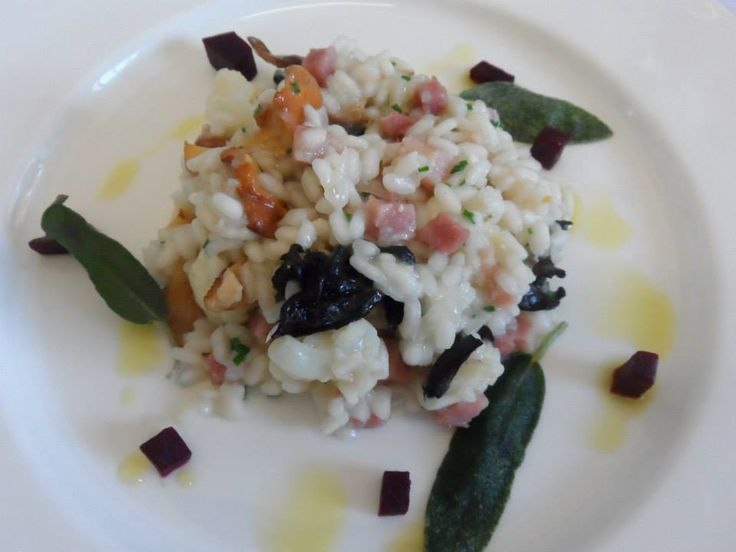 Wild mushroom and cauliflower risotto with crisp sage, ham hocks and beetroot. Part of our Winter menu.