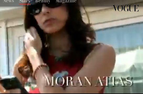 Model, actress & humanitarian Moran Atias interviewed for Italy's Vogue TV wearing the SHIVALOKA charity bracelet  www.omshivaloka.com