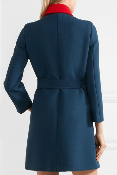 Royal-blue, off-white and red wool Concealed snap fastenings through front 100% wool; lining: 100% viscose Dry clean Made in Italy
