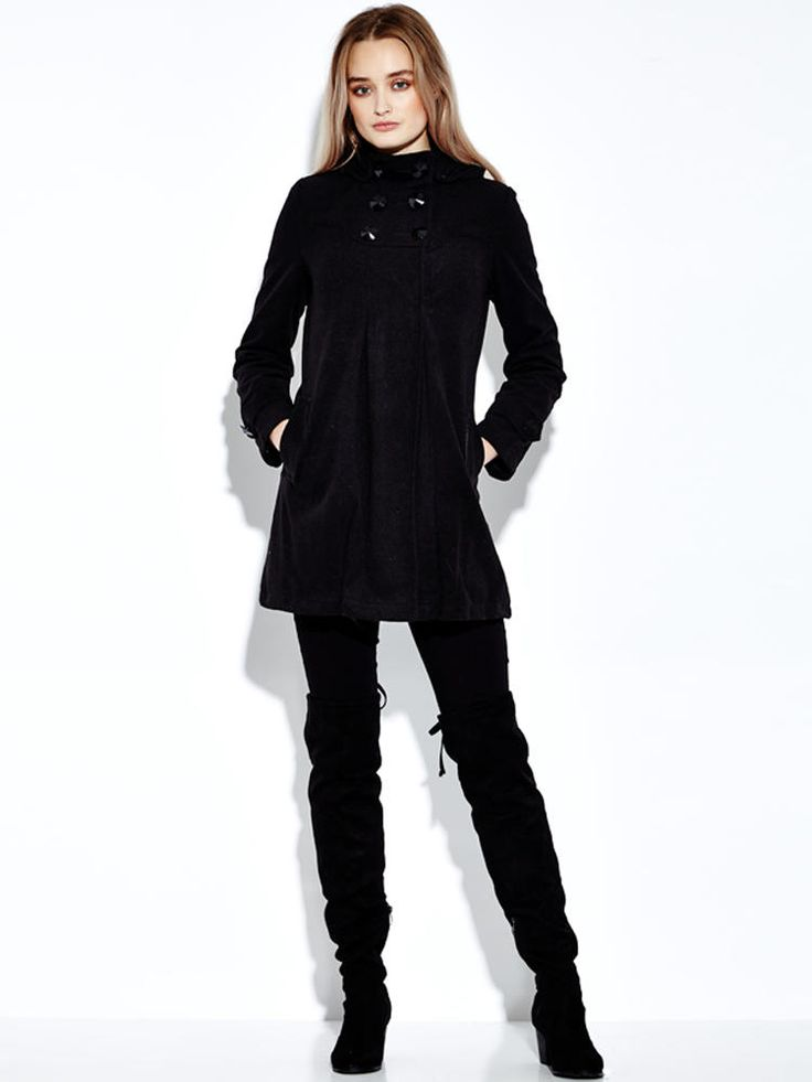 Woollen Hooded Coat Double Breasted Pure Color Wool Overcoat at Banggood