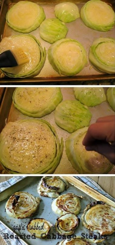 """GARLIC RUBBED ROASTED CABBAGE STEAKS  Ingredients   1 (approx 2lb) head of organic green cabbage, cut into 1"""" thick slices  1.5 tablespoons olive oil  2 to 3 large garlic cloves, smashed  kosher salt  freshly ground black pepper  spray olive oil OR non-stick cooking spray   source =>     GARLIC RUBBED ROASTED CABBAGE STEAKS"""
