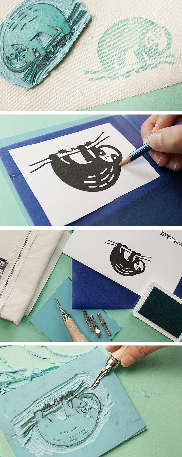 DIY tutorial: Sew a Hand-Stamped Sloth Pouch  via en.DaWanda.com