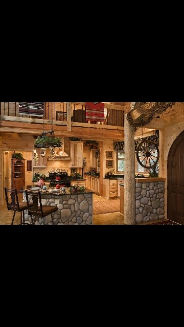 Love this use of rock interior in this Country home
