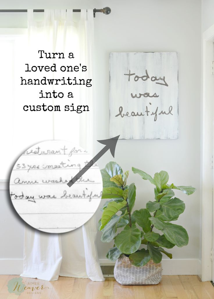 A wonderful way of remembering a loved one! Custom signs are available in many colors and are customized with any handwriting. Bring beauty to your home with a unique custom sign!