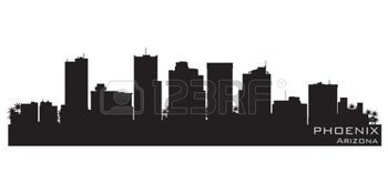 phoenix skyline: Phoenix, Arizona skyline  Detailed silhouette Illustration