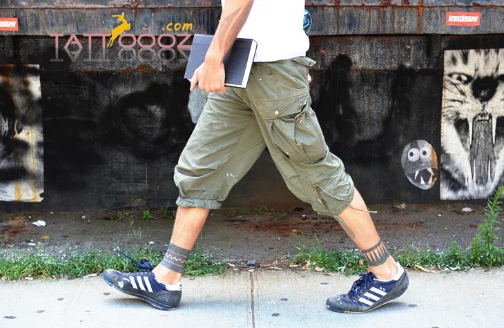 Blackwork ankle tattoo