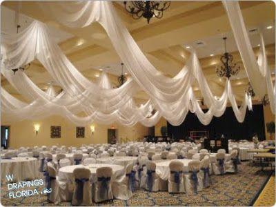 ceiling drapping with paper lanterns   Custom Chiffon Ceiling Draping + Wedding Reception at Arlington Ridge ...