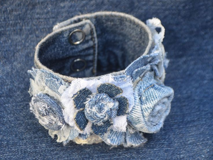 "This is a denim jewelry cuff and is one of four projects that will be taught in the 4 week ""Joy of Upcycling: Part 2 Denim"" online course. Close ups of all projects are on facebook: https://www.facebook.com/media/set/?set=a.640699039285441.1073741843.282989001723115&type=1"