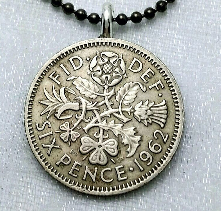 Coin Jewelry - English Irish Scottish Welsh COIN NECKLACE - vintage six pence - Tudor rose - Irish clover - Scottish thistle - Welsh leek by FindsAndFarthings on Etsy