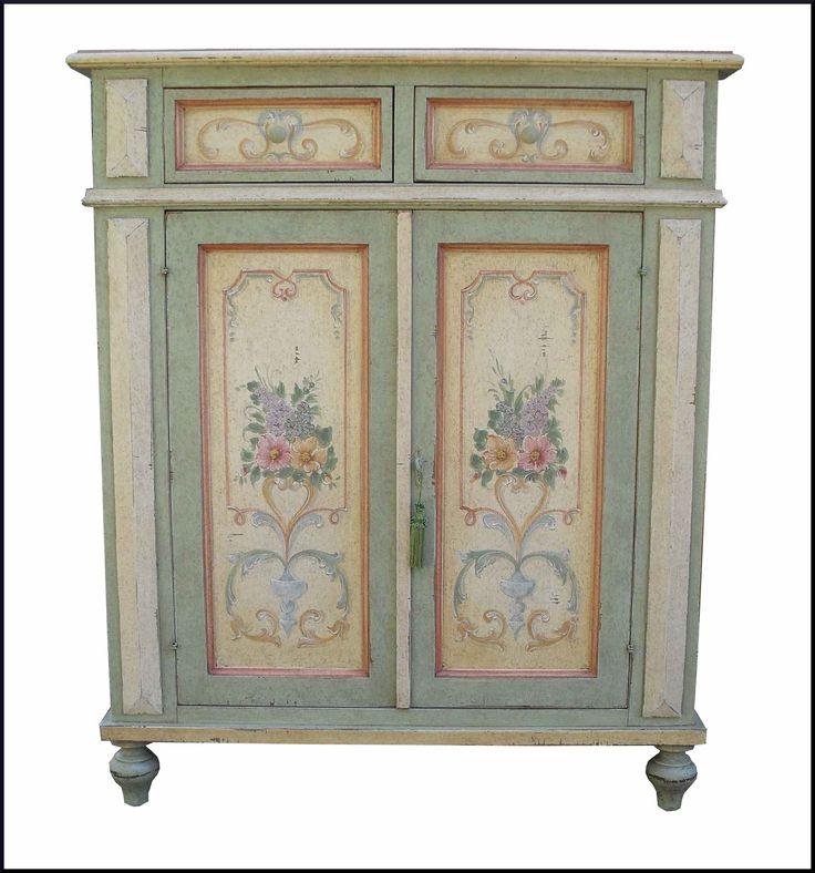 Top credenza madia a due ante dipinta e decorata in stile - Mobili soggiorno stile provenzale ...