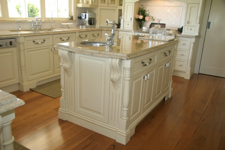 Hand Painted French Provincial Kitchen Showing Island