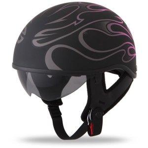 Womens Motorcycle Helmet - half helmet with drop shield