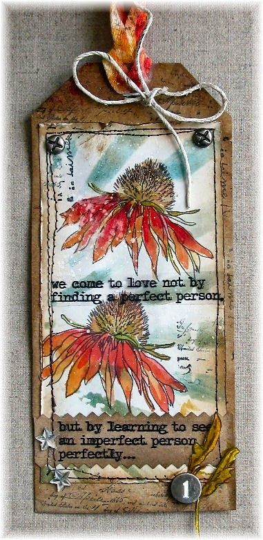 Scrapbook Dreams: Tag Flower Power using Tim Holtz, Ranger, Idea-ology, Sizzix and Stamper's Anonymous products; Apr 2015