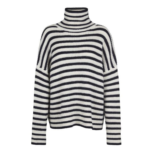 Hedvig Stripe Jumper found on Polyvore featuring tops, sweaters, turtleneck sweater, stitch sweater, stripe top, turtle neck sweater and polo neck sweater