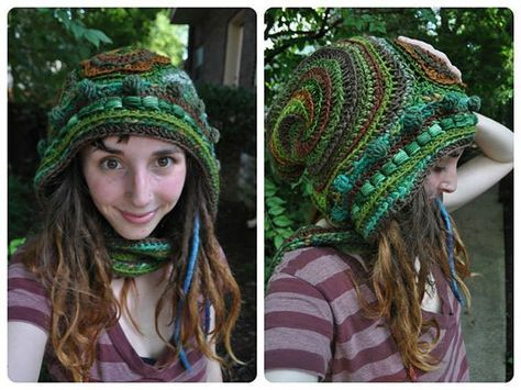 Custom Made For You Freeform Crochet Hooded Scarf // by OfMars