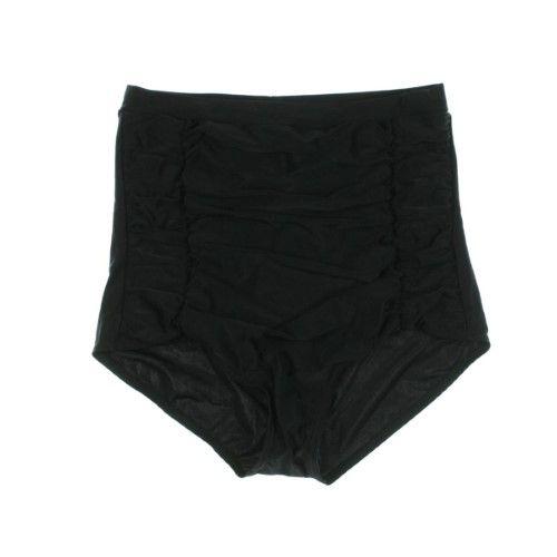 Unique Vintage Womens Ruched High Waist Swim Bottom Separates, Women's, Size: XXL, Black