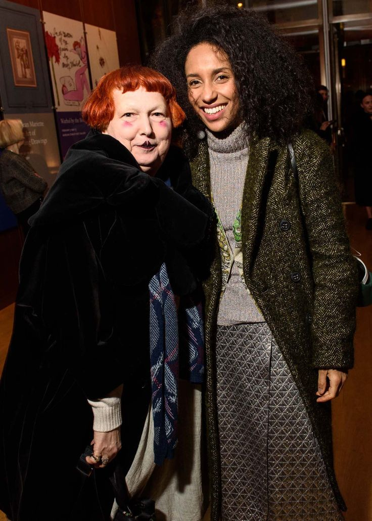 Vogue.com's Chioma Nnadi wearing a Mantù Prefall2016 coat with Lynn Yaeger @the Fashion Fund Premiere Party