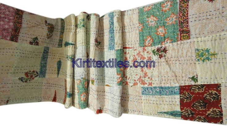 Abstract Floral Printed Sanganeri Hand Block Printed Cotton Fabric Made Vintage Style Patchwork Gudri Bedspread Throw From Jaipur Rajasthan India