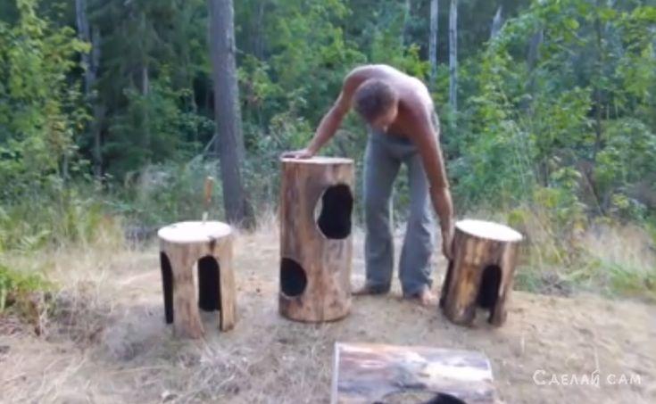 Лесная огненная мебель из бревен своими руками | Сделай Сам www.sdelay.tv