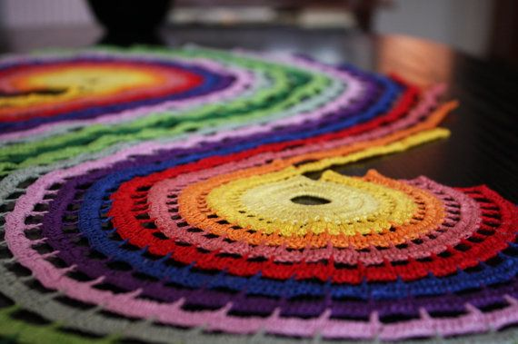 Colorful crochet placemat by Meluzyna on Etsy, $50.00