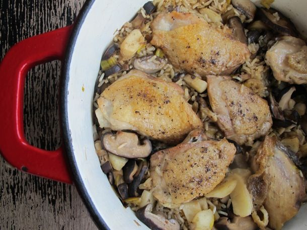 One-Pot Sesame Chicken, Shiitake, and Brown Rice #recipe