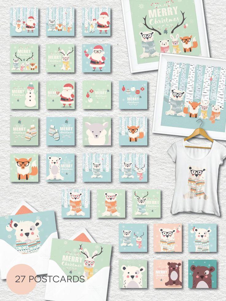 Christmas- 27 postcards, 12 patterns by Blue Lela Illustrations on @creativemarket