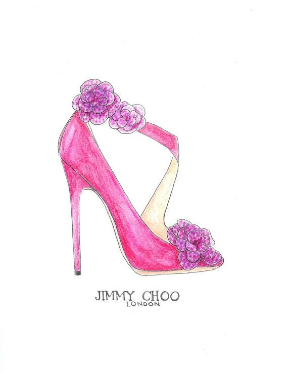 Jimmy Choo Pink Fashion Illustration Pink Watercolor Shoe by Zoia, $18.00