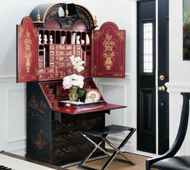 Black Red And Gold Chinoiserie Secretary Sisal Leather Zebra Print Rug Door In The Entry