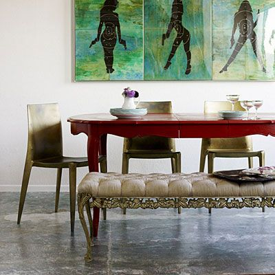 Red dining table: Red Dining, Benches, Red Wall, Paintings Tables, Dining Tablechair, Interiors Design, Dining Rooms Tables, Red Tables, Dining Tables