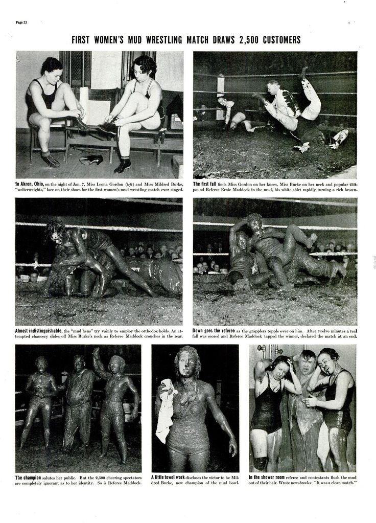 First women's mud wrestling match draws 2,500 customers. ※1/24/1938,LIFE #Akron #OhioState  #wrestling