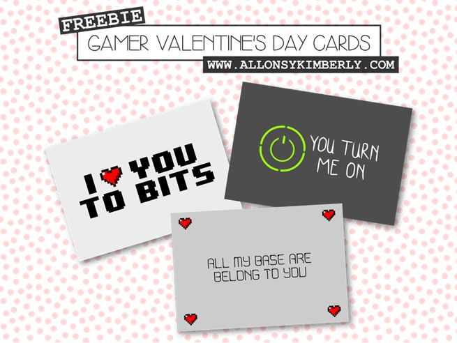 Free Gamer Valentine's Day Card Printables | allonsykimberly.com
