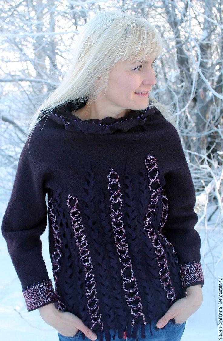 Купить Свитер валяный Праздник - тёмно-фиолетовый, абстрактный, чернильный, свитер валяный, свитер женский
