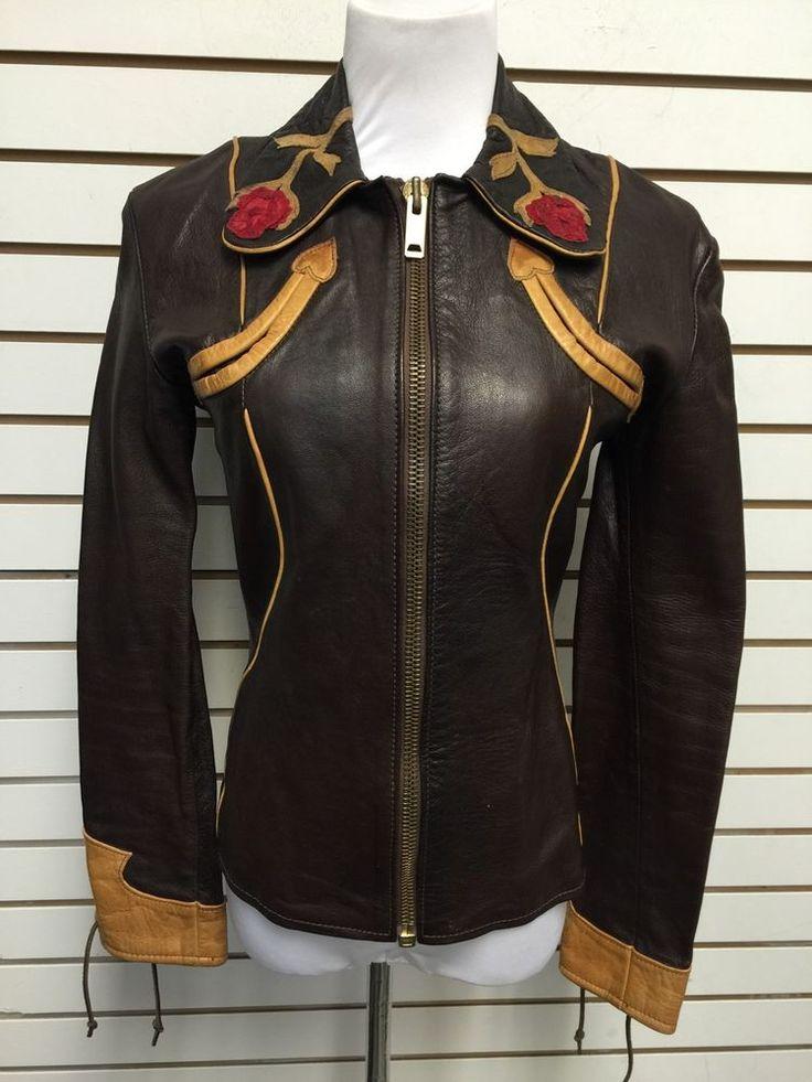 East West Musical Instruments Vintage Leather Jacket XS Womans Brown Rose #EastWestMusicalInstruments