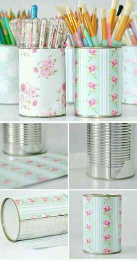 Cute recycle diy storage containers out of cans